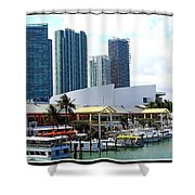 The Port Of Miami At Bayside Shower Curtain