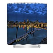 The Portland Oregon Waterfront Blue Hour Shower Curtain
