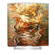 Gray And Orange Peaceful Abstract Art Shower Curtain