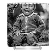 The Power Of Smiles Bw Shower Curtain