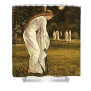 The Princess Tied To A Tree Shower Curtain by Sir Edward Coley Burne-Jones