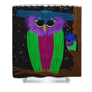 The Prismatic Crested Owl Shower Curtain