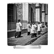 The Procession - Black And White Shower Curtain