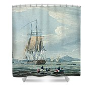 The Prometheus And The Melpomene In The Gulf Of Riga Shower Curtain by Thomas Whitcombe