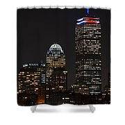 The Prudential Lit Up In Red White And Blue Shower Curtain