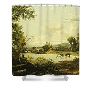The Quiet Valley Shower Curtain by Jasper Francis Cropsey