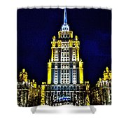 The Raddison-stalin's Wedding Cake Architecture-in Moscow-russia Shower Curtain
