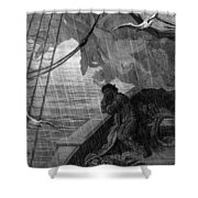 The Rain Begins To Fall Shower Curtain by Gustave Dore