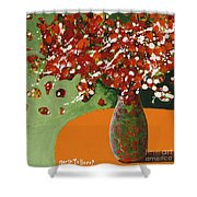 The Red And Green Vase Shower Curtain