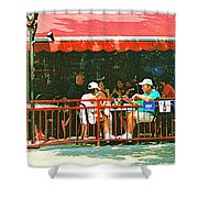 The Red Awning Cafe On St. Denis - A Shady Spot To Enjoy A Cold Beer On A Very Hot Sunday In July Shower Curtain