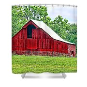 The Red Barn - Featured In Old Buildings And Ruins Group Shower Curtain