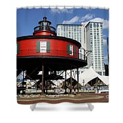The Red Beacon From Baltimore Harbor Shower Curtain