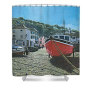 The Red Boat Polperro Corwall Shower Curtain
