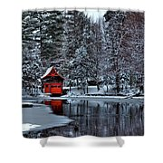 The Red Boathouse - Old Forge Ny Shower Curtain