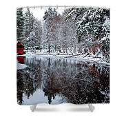 Red Boathouse On Beaver Brook Shower Curtain