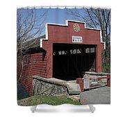 The Red Bridge Or Wertz's Cover Bridge Shower Curtain