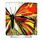 The Red Butterfly Shower Curtain