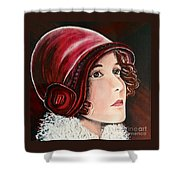 Red Cloche Shower Curtain