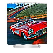 The Red Corvette Shower Curtain