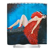 The Red Feather Boa Shower Curtain