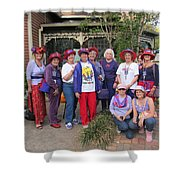 The Red Hat Ladies At The Catfish Plantation Shower Curtain