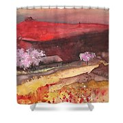 The Red Mountain Shower Curtain