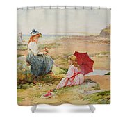 The Red Parasol Shower Curtain by Alfred Glendening Jr
