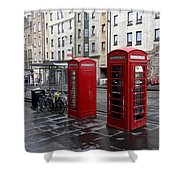 The Red Phone Booth Shower Curtain