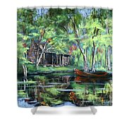 The Red Pirogue Shower Curtain