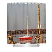 The Red Sailboat Shower Curtain