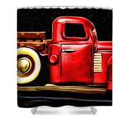 The Red Truck Shower Curtain