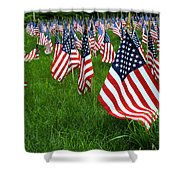 The Red White And Blue  American Flags Shower Curtain