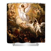The Resurrection Shower Curtain by Munir Alawi