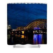 The Rhine Rail Bridge And Cathedral Of Cologne Shower Curtain