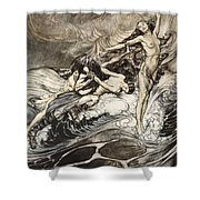 The Rhinemaidens Obtain Possession Of The Ring And Bear It Off In Triumph Shower Curtain