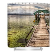 The Rickety Pier Shower Curtain