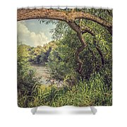 The River Severn At Buildwas Shower Curtain