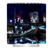 The Riverside Pool Of The Guggenheim Museum In Bilbao Spain Shower Curtain