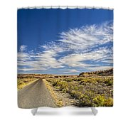The Road Goes On Forever Shower Curtain