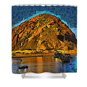 The Rock At Morro Bay Abstract Shower Curtain
