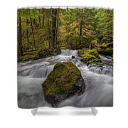 The Rock At Panther Creek Shower Curtain