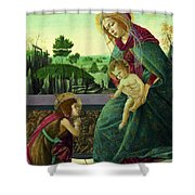 The Rockefeller Madonna. Madonna And Child With Young Saint John The Baptist Shower Curtain