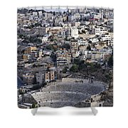The Roman Theatre In The Middle Of The City Of Amman Jordan Shower Curtain