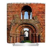 The Romanesque Doorway In The Monastery Shower Curtain