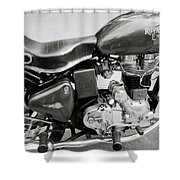 The Royal Enfield Motorbike Shower Curtain