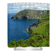 The Rugged Green Shore Shower Curtain