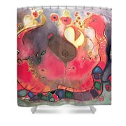 The Sacred Snake Shower Curtain by Jane Deakin