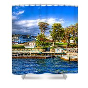 The Sagamore Hotel On Lake George Shower Curtain by David Patterson