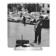 The Saxman In Black And White Shower Curtain