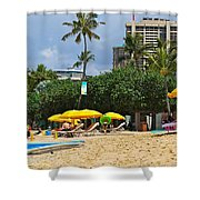 The Scene At Waikiki Beach Shower Curtain